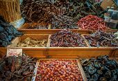 pic of pasilla chili  - Choice of dried chili in Oaxaca market Mexico