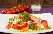 foto of gyro  - Chicken gyros salad on white plate closeup - JPG