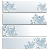 Постер, плакат: Set Of Horizontal Banners With Gray 3D Maple Leaf