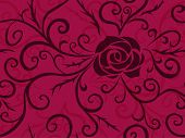 stock photo of thorns  - Grunge floral seamless pattern with rose and thorns - JPG