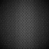 stock photo of honeycomb  - Metallic abstract background with honeycomb grid  - JPG