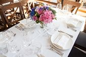 picture of banquet  - elegance wedding banquet table with flower decoration - JPG