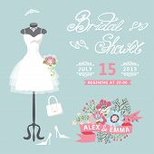 Bridal Shower card.Cute wedding invitation with floral elements