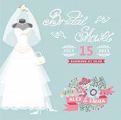 Bridal Shower card.Vintage wedding dress with floral elements