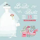 Bridal Shower card.Vintage wedding invitation with floral elemen