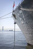 STATEN ISLAND, NY - MAY 25, 2014: The bow of the guided-missile destroyer USS Cole (DDG 067) moored