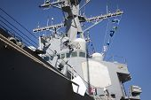 STATEN ISLAND, NY - MAY 25, 2014: Low angle port side view of the hull and bridge on the guided-missile destroyer USS Cole (DDG 067) moored during Fleet Week NY at Sullivans Piers on May 25, 2014.