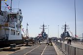 STATEN ISLAND, NY - MAY 25, 2014: A view down Sullivans Piers of the USCGC Katherine Walker (WLM 552