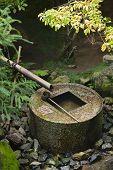 Japan, Kyoto, Ryoan-ji Temple, stone water basin
