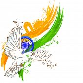 India at a glance, creative view of India with famous monuments, tricolors, asoka wheel and flying p