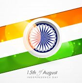 15th of August, Indian Independence Day celebrations with Asoka Wheel and national tricolors colors stripe on grey background.
