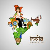 India at a glance, Republic of India map covered by Indian traditional culture, famous monuments, na