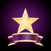 vector golden bulb star with blank purple bulb banner
