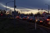 Line Of Cars Stopped Freeway Offramp Twilight