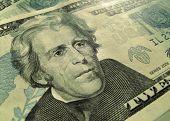 image of twenty dollars  - Close up of twenty American dollars background - JPG
