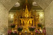 Golden Buddha In Golden Pagoda In Sanda Muni Paya In Myanmar.