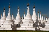 Group Of Stupas In Sanda Muni Paya Temple Of Myanmar.