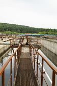 stock photo of aeration  - Aeration process of waste sewage water treatment plant - JPG