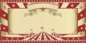 invitation circus show. Circus invitation with sunbeams and a large frame. A retro invitation card for your circus company.