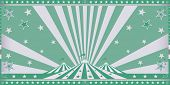 Circus green invitation. Circus invitation with green sunbeams.