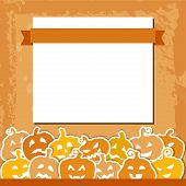 Halloween grunge  background with yellow and orange pumpkins