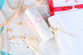 Beautiful handmade wedding cards, close up