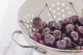 Fresh Cherries In A Sieve