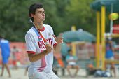 MOSCOW, RUSSIA - JULY 18, 2014: Nikita Burmakin of Russia in the match against Hungary during ITF Beach Tennis World Team Championship. Russia won 3-0