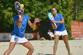 MOSCOW, RUSSIA - JULY 18, 2014: Woman double of Italy in the match against France during ITF Beach T
