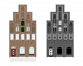 Historic gothic town house Vector Illustration. Detailed Illustration of medieval town house. Color