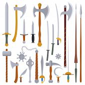 stock photo of cold-war  - flat design colors medieval cold weapon set - JPG