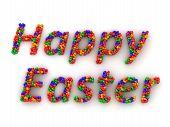 3D Eggs spelling Happy Easter
