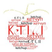 Decorative tomato with word ketchup