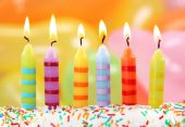 picture of birthday-cake  - Six birthday candles on a colorful background - JPG