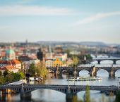 Travel Prague concept background - elevated view of bridges over Vltava river from Letna Park with t