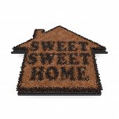 pic of coir  - 3d render of brown house shape coir doormat with text Sweet sweet home isolated on white background - JPG