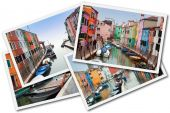 Collage Of Burano Island, Venice, Italy