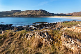 foto of bute  - Calgary Bay is located on the north west of Mull and is framed by low hills - JPG