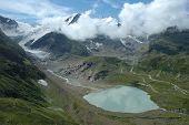 Steisee And Steigletscher In Alps In Switzerland
