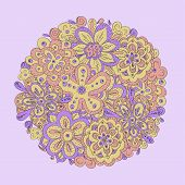 colorfuls doodle flowers round buquet.