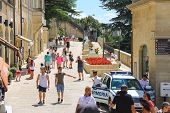 Tourists See The Sights Of San Marino. The Republic Of San Marino