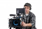 Young Cameraman With Professional Camera