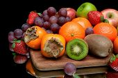 Still Life Of Fresh Fruit On A Black Background