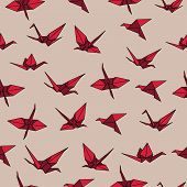 Beige and red crane origami seamless vector pattern