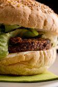 Close Up Burger With Vegetarian Rissoles