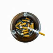 Top View Of Burning Cigarette In Ashtray