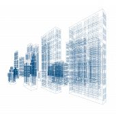 stock photo of skyscrapers  - Drawings of skyscrapers and homes - JPG