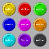 Webinar Web Camera Sign Icon. Online Web-study Symbol. Website E-learning Navigation. Set Of Colored