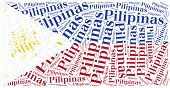 National Flag Of Philippines. Word Cloud Illustration.
