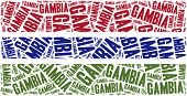 National Flag Of Gambia. Word Cloud Illustration.